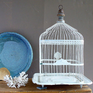 Antique Birdcage Bird Cage / White Wedding Card Holder