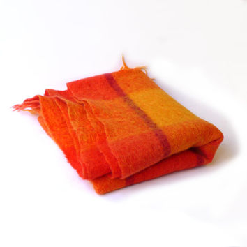 Vintage bright orange and gold soft mohair wool travel blanket throw