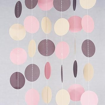 Pink Ivory Brown Circle Garland Party Decoration Paper Dots Banner Neutral