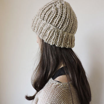 FREE SHIPPING Beige knit hat Beanie Hand knit hat Light beige Womens winter hat Ski hat Bobble hat