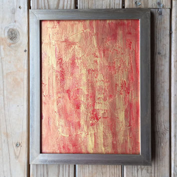 Red Abstract Art, Gold Painting, Gold Wall Art, Abstract Painting, Original Art, Textured Painting, Red Painting, 12x16 Canvas Panel, Modern