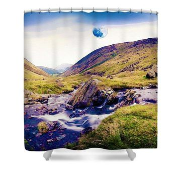 Watercolor Waterfal Series No 1 - Shower Curtain