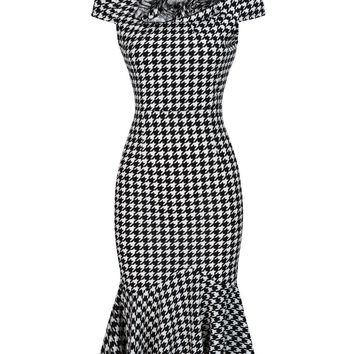 Casual Floral Patch Houndstooth Bodycon Dress