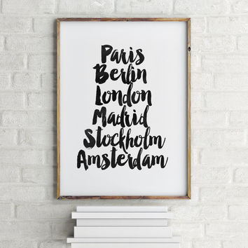 "PRINTABLE Art""European Cities Art Printable,Europe,Black And White,Printable Stylish Print,Fashion Art,Travel Poster,Home Decor,Wall Decor"