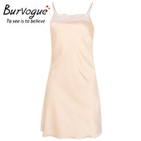 Burvogue Women Sexy Nightdress Sleepshirts Sleeveless Silk Nightgowns Lace Sleepwear Lingerie Night Dress Sleepdress Nightdress