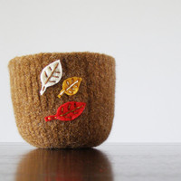 large felted bowl - light brown wool with white, mustard, and red felt leaves- autumn home decor, hostess gift,catch all, organizer