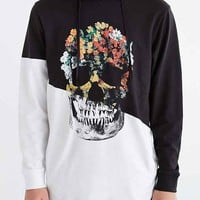 Pieced Skull Curved Hem Hooded Sweatshirt- White