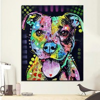 Large size Print Oil Painting Wall painting cherish the pitbull Home Decorative Wall Art Picture  Living Room paintng No Frame
