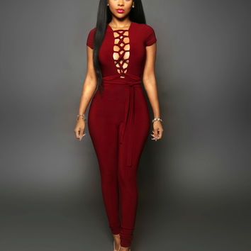 Red Lace-Up Tie Waist Jumpsuit