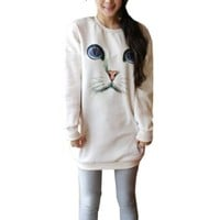 Partiss Womens Cat Face Sweatshirt