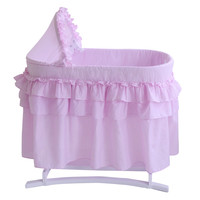 Good Night Bassinet with Full Pink Gingham Skirt