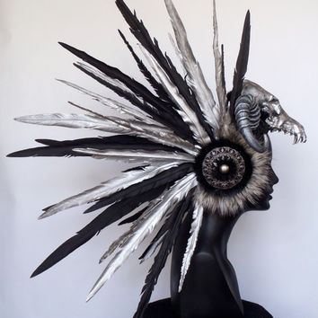 MADE TO ORDER Faux Feather & Skull Headpiece