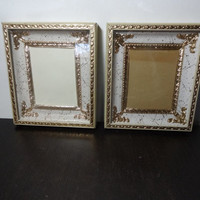 Vintage 4 x 5 Gold, White, and Ivory Dimensional Picture Frames - Set of 2 - White with Gold Splatter and Trim - Hollywood Regency