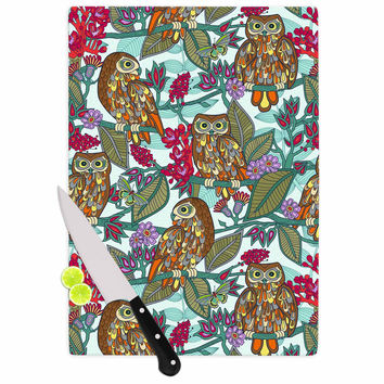 "Julia Grifol ""My Bookbooks Owls On Blue"" Brown Blue Cutting Board"