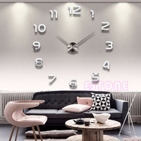 Large Number Wall Clock 3D Mirror Sticker