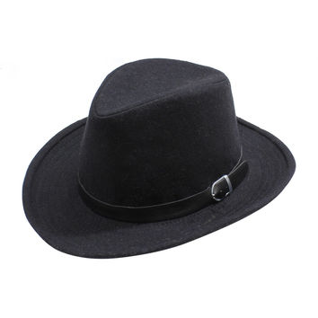 Womens Felt Fedora Hat with Faux Black Leather Buckle