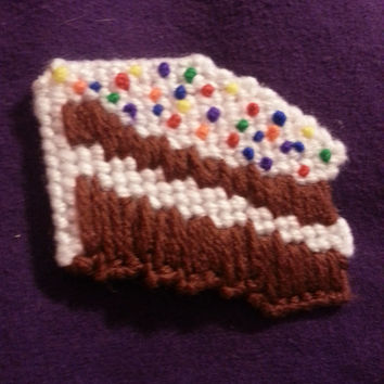 Etsy Plastic Canvas Chocolate Cake Magnet or Christmas Ornament
