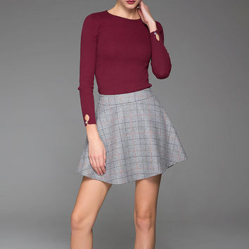 Wool Mini Skirt Sexy Winter Skirt Gray Mini Skirt (1436)