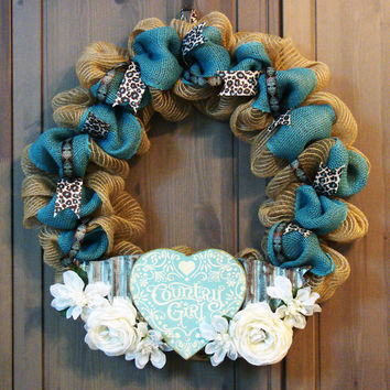 I'm a Country Girl - Burlap Wreath with Teal and Leopard Print and Metal Country Girl Sign