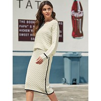 SHEINCable Knit Sweater & Contrast Piping Skirt Set