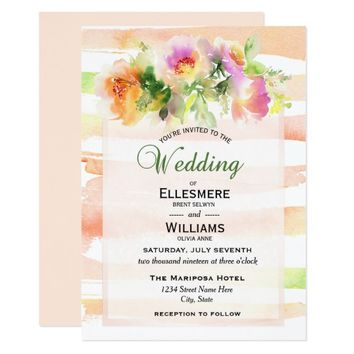 Peaches and Cream Floral Stripe Wedding Invitation