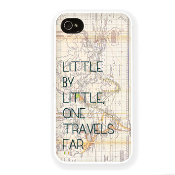 Hobbit iPhone Case / Little by Little Tolkien Quote iPhone 4 4S 5 Case Travel Vintage iPhone 4 Case iPhone 5 Case Silicone or Hard Plastic