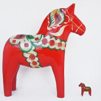 Vintage Dala Horse Olsson Grannas Nils Red Orange Wooden Swedish Folk Art Sweden Wood Home Decor Christmas Hand Painted Authentic Dalahasten