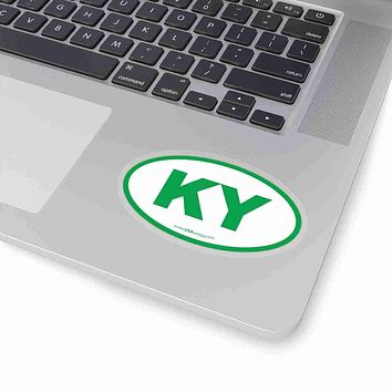 Kentucky KY Euro Oval Sticker GREEN