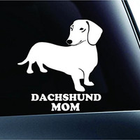 Dachshund Mom Dog Symbol Decal Paw Print Dog Puppy Pet Family Breed Love Car Truck Sticker Window (White)