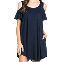 Sweet Ruffle Off-The-Shoulder Pocket Dress - Made in USA