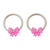 Steel Pink Bow Captive Hoop 2 Pack