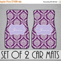 SALE Elegant Damask Personalized FRONT Car Mats (Set of 2) - Monogrammed, Custom Monogram Carmat Car Mat - Over 40 Colors Available