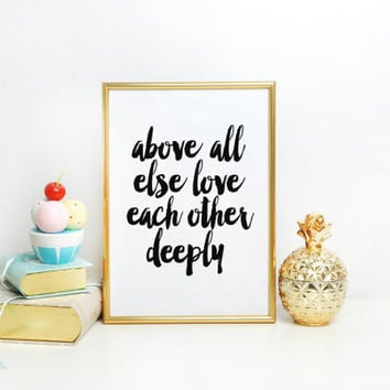 Typographic Print,Family Sign,Scripture Art,Bible Verse,Bible Cover,1 Peter 4:8,Love Sign,Inspirational Quote,Home Decor,Typography Print