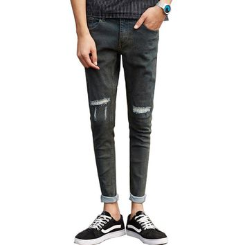 Summer Jeans Men Ripped Tapered Pencils Pants VintageSlim Fit Skinny Black Grey Knee Holes Destoryed Hip Hop Biker Jean Joggers