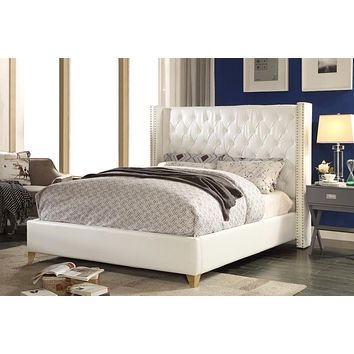 Soho White Bonded Leather Full Bed