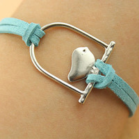 bracelet--love bird bracelet, silver charm bracelet,teal leather bracelet,MORE COLORS