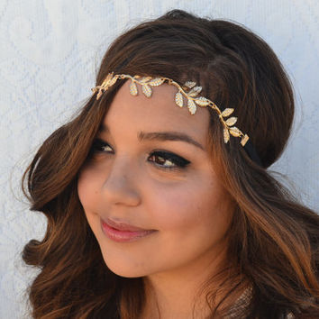 Gold Leaf Headband Wedding Headpiece Bridal Hair Accessories.