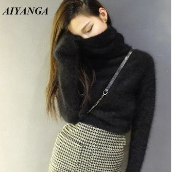AIYANGA 2018 Winter Faux Mink Cashmere Pullovers Sweater Women Knitted Tops Solid Color Long Sleeve Turtleneck Sweaters Female