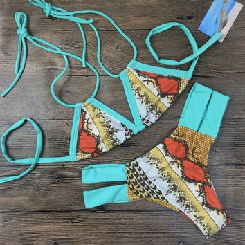 Vintage Printing Bikini Swimsuit Kiss Swimwear Bathingsuit