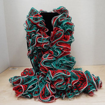 Crochet Ruffled Scarf, Handmade Christmas Green Red and Lacy Silver Accent Winter / Warm Scarf, Valentine's Day / St. Patrick's Day Scarf