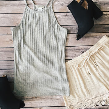 Ribbed Knit Tank Top (Heather Gray)
