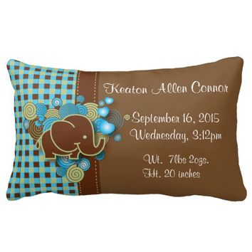 Blue and Brown Plaid with Elephant Birth Pillow