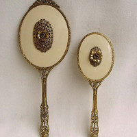 Vintage Gold Ormolu Dresser Vanity Set Mirror Brush Unused 24 KT Gold Plated Gilt By Globe Floral And Bow Decoration Label Guilloche Mint