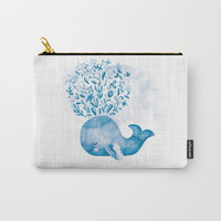 Cute Watercolor Whale Carry-All Pouch by noondaydesign