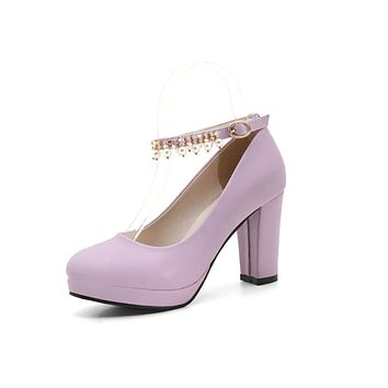 Ankle Strap High Heels Platform Shallow-mouth Pumps