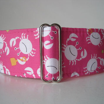 Pink Martingale Collar, Crab Martingale Collar, Crab Dog Collar, Pink Dog Collar, Whippet Collar, Made in Canada, Sighthound Collar