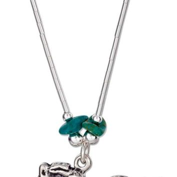"Sterling Silver 16"" Liquid Silver With Simulated Turquoise Chips Horse Necklace"