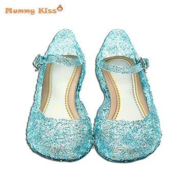 Kids Girls Sandals Snow Queen Princess Elsa Shoes Cosplay Children Girls Shoes Blue Jelly Crystal Hole Elsa Sandals Kids c50
