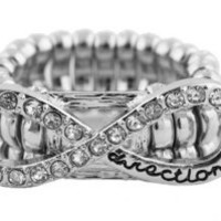 Silver One Direction Infinite Directioner Infinity Iced Out Stretch Finger Ring