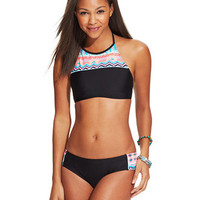 Hobie High-Neck Printed Cropped Bikini Top & Hipster Bottom